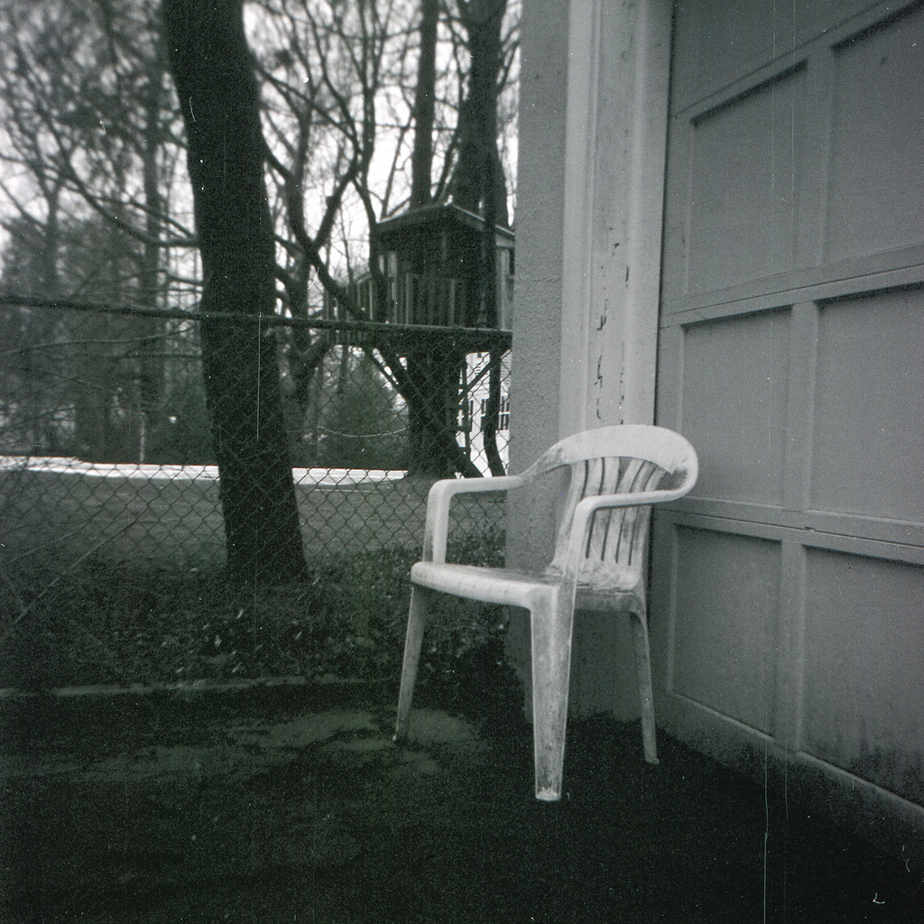 White plastic lawn chair with mold Nesster Flickr
