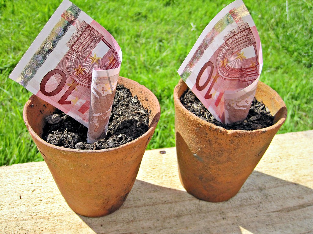 Euro Money in Pots