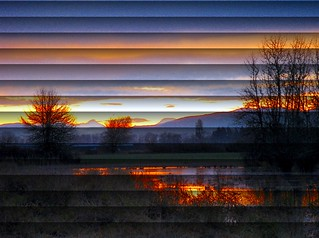 Sunrise & 2 out of 3 Sisters Mountains ~ through Blinds Effect ~ Artsy | by Pixel Packing Mama