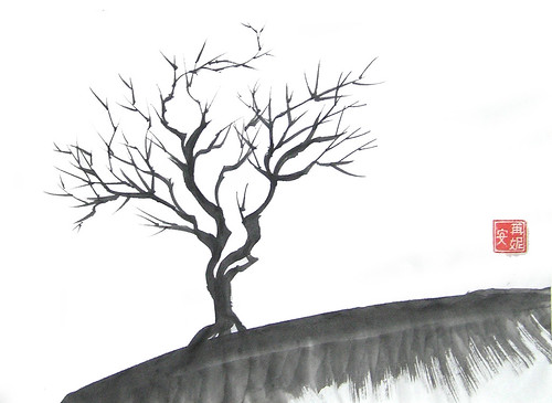 Tree wading through winter original chinese brush for On line art galleries