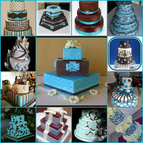 light blue and brown wedding cakes blue and brown wedding cakes 1 polk dot and bows 16845