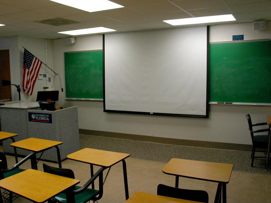 Modular Classroom Jobs ~ Uf mccarty classroom desks screen flag christopher