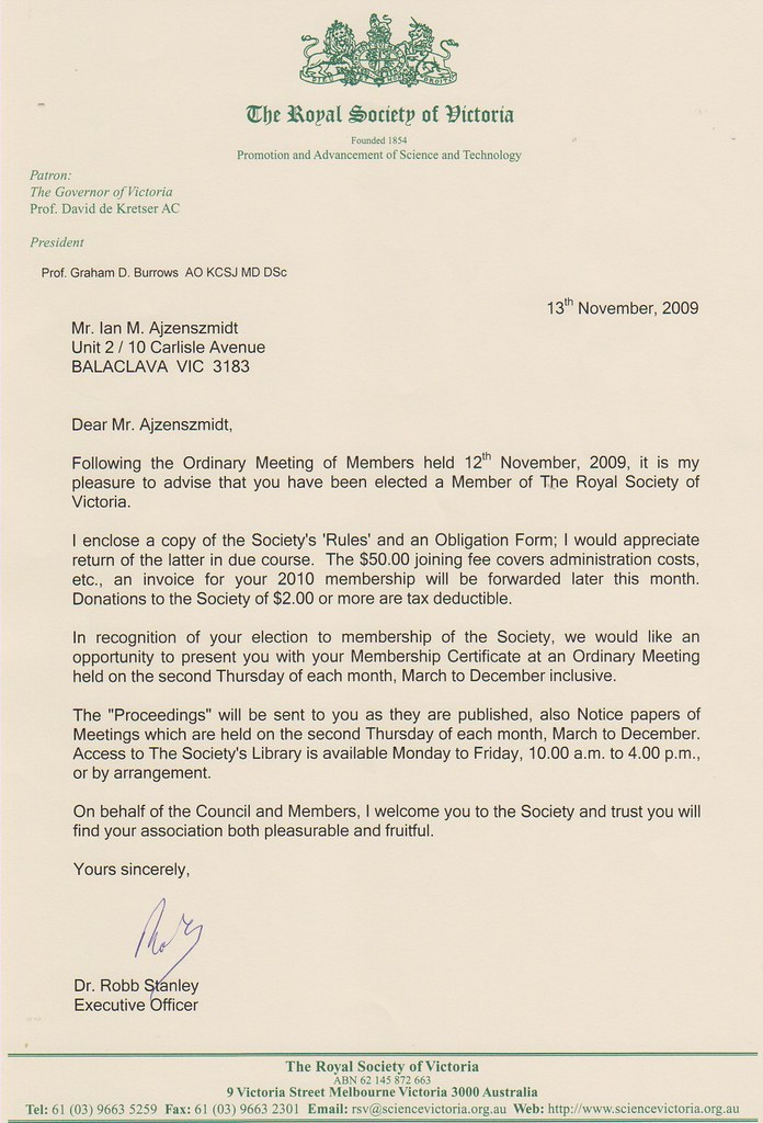 Royal society of victoria letter to mr ian martin ajzenszm flickr royal society of victoria letter to mr ian martin ajzenszmidt congratulations on election to membership thecheapjerseys Choice Image