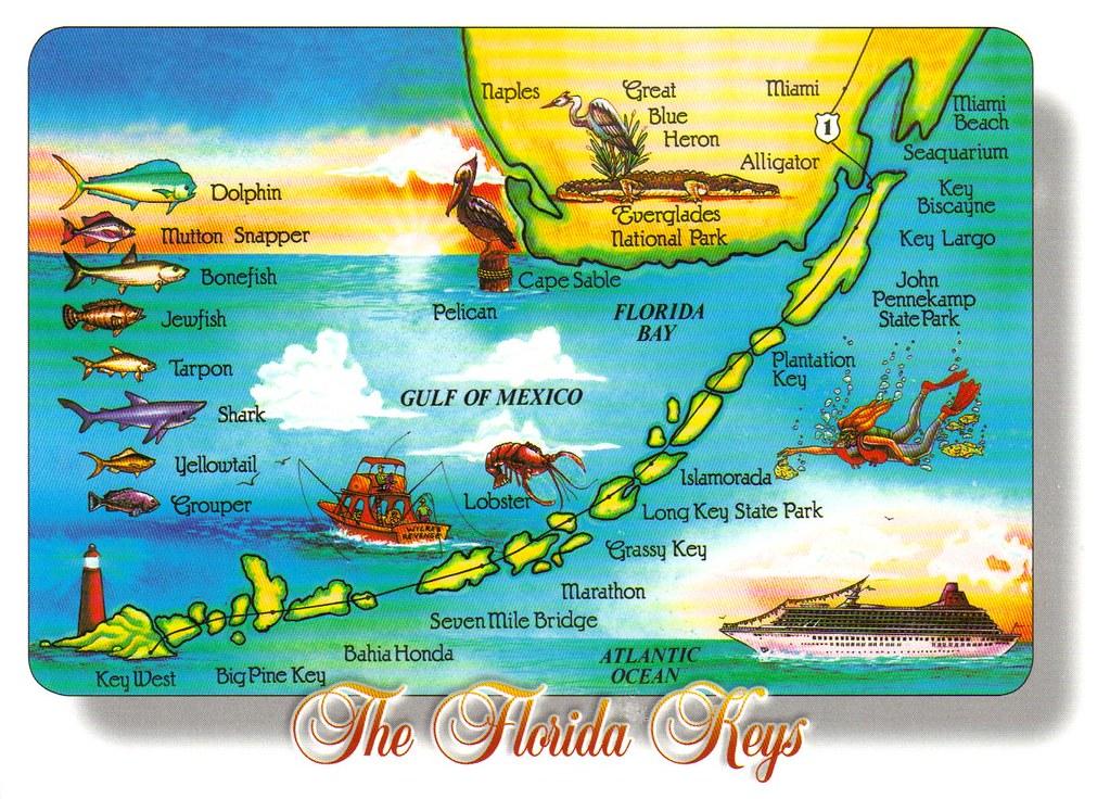 Florida Keys Map.Large Florida Keys Map Postcard Special Trade Large 5x7 Flickr