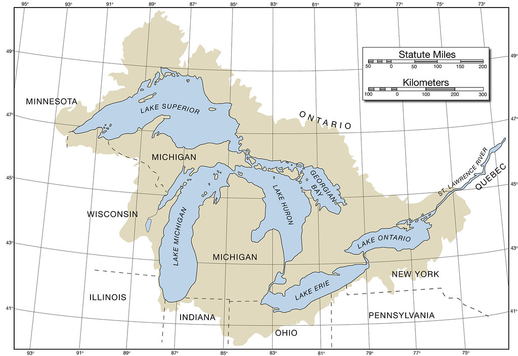 All sizes  Map of the Great Lakes with latitude longitude and