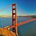 Golden Gate Bridge from Marin Headlands near Sunset