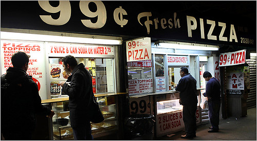 N.Y./Region: Where a Meal Can Cost a Fortune, 99¢ Pizza Catches On | by TheNewYorkTimes