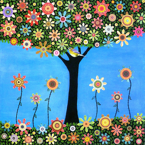 Bird Tree Collage Painting Art - Summer Tree by Sascalia | by sascalia
