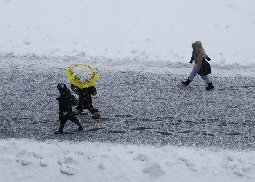 A Yellow Umbrella in a Snowstorm | by Katy Silberger