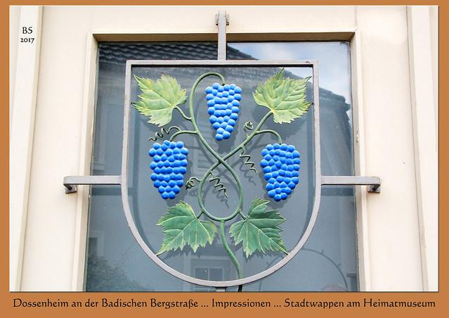 Stadtwappen ... Dossenheim Steinbruch Steinbrecherstadt Badische Bergstraße Odenwald Partnerstadt Grau-du-Roi ... Impressionen vom Februar 2017 ... Foto: Brigitte Stolle, Mannheim