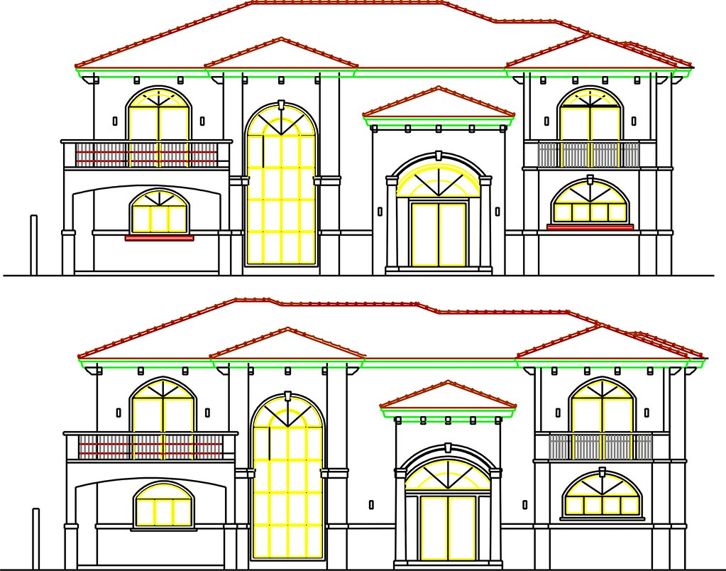 House Front Elevation Cad : Front elevation cad drawing of proposal for