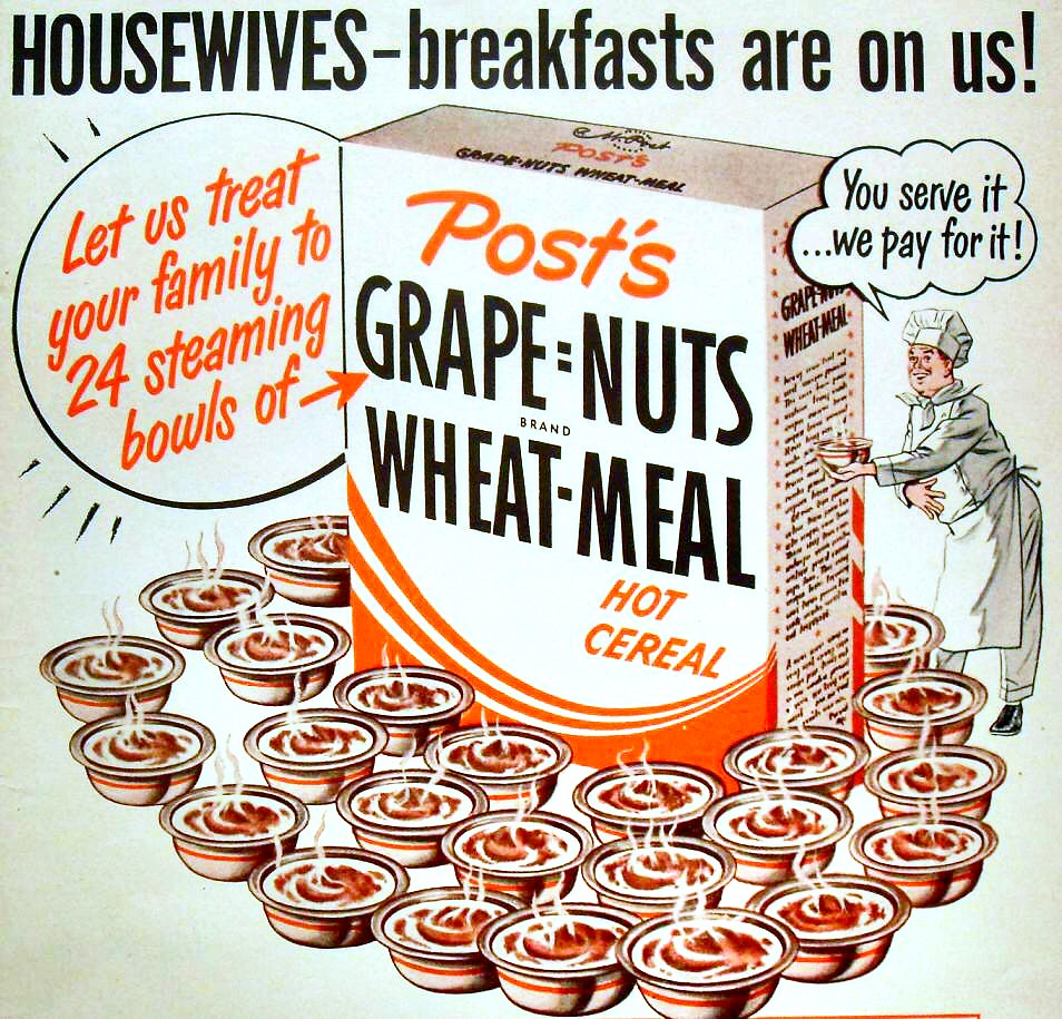 1940s POST CEREAL Grape Nuts Wheat Meal Vintage Illustrati
