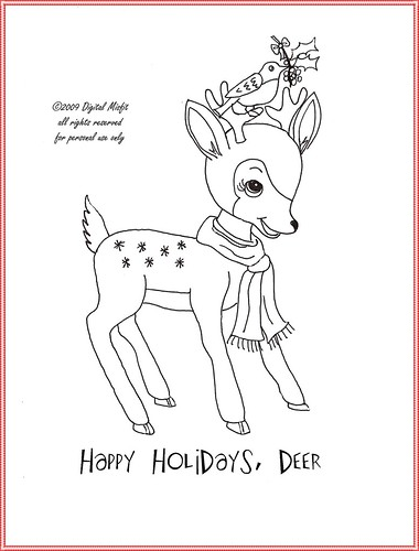 FREE holiday deer embroidery pattern | by digitalmisfit