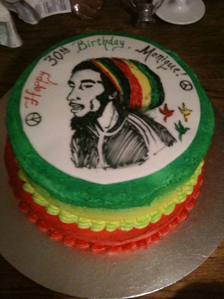 Bob Marley Cake Buttercream With Hand Drawn Portrait Flickr