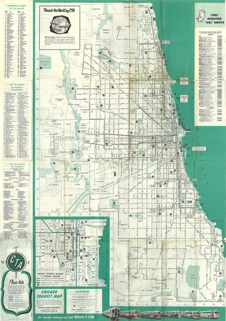 Cta Chicago Transit Map 1955 Chicago Transit Map