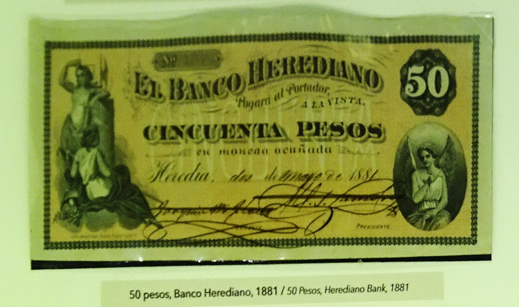 Image result for billete de 50 pesos, banco herediano de costa rica, 1881