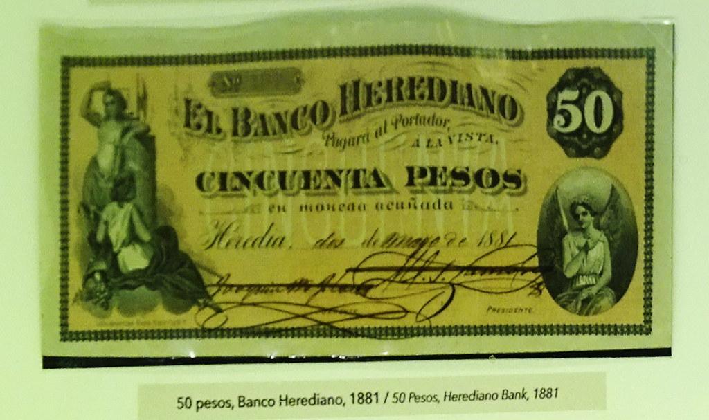Image result for billete de 50 pesos, banco herediano de costa rica, 1881