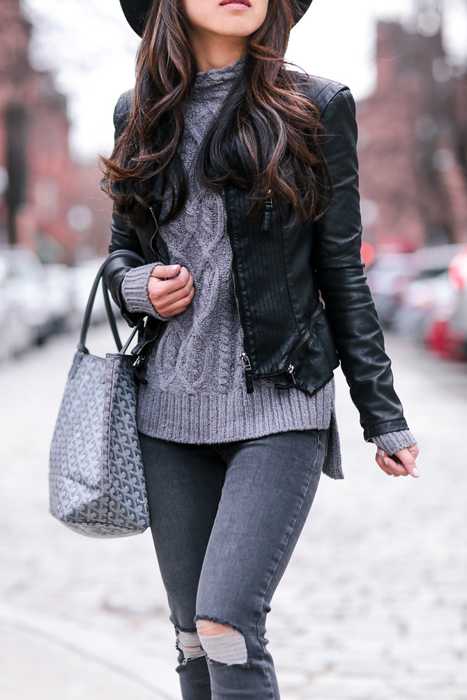 spring fall gray layers casual outfit ideas