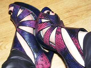 Purple and pink snake effect heels | by The Style PA