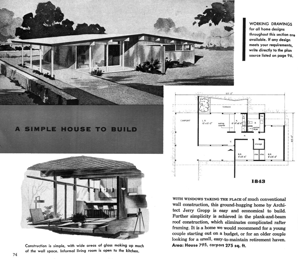 Plan 1843 Architect Jerry Gropp New Homes Guide 1956