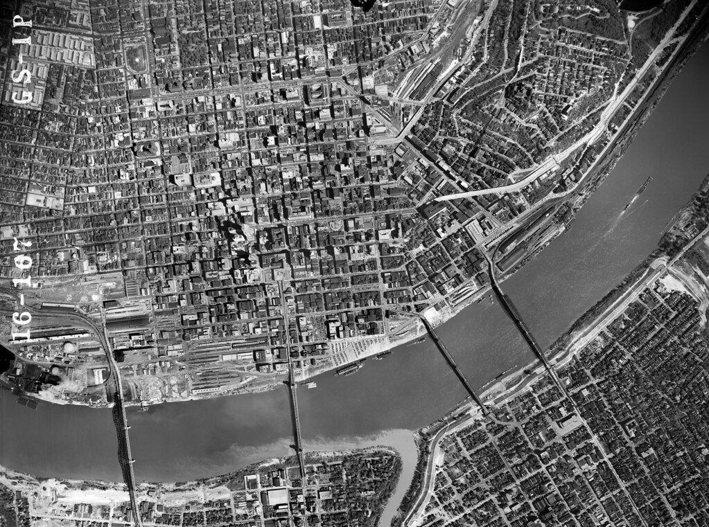 1949 aerial photo of cincinnati  high resolution