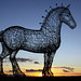 Glasgow's heavy horse sculpture just off the west bound M8 motorway,  Scotland