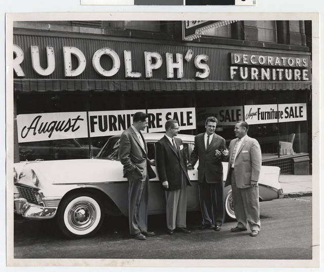 Salesmen In Front Of Rudolphs Furniture Store Duluth