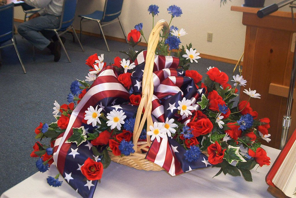 Patriotic flower arrangement red white and blue flowers for Red white blue flower arrangements