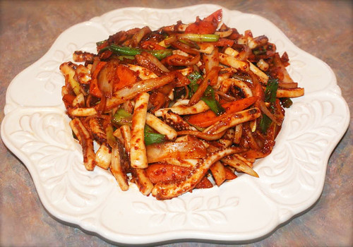 Adam Vance' spicy squid dish(ojinguhbokkeum) | by maangchi