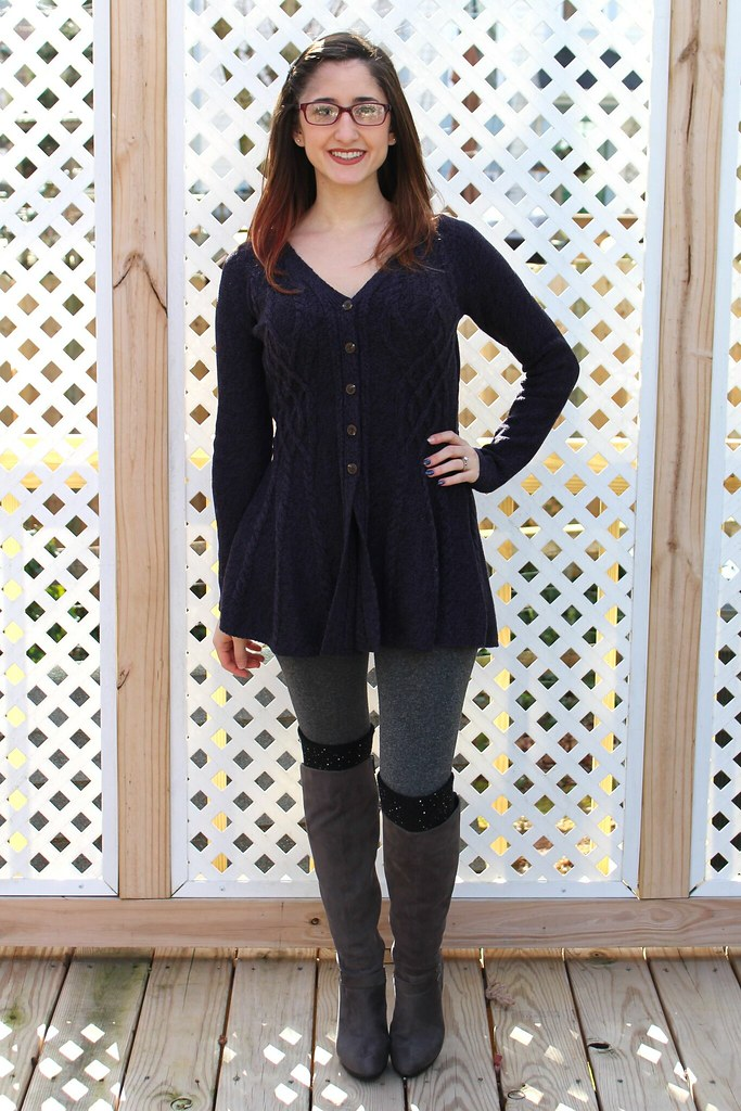 Purple peplum sweater, grey knee high boots