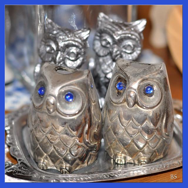 Vitrinen-Fund: 4 Eulen ... Eulensammlung ... Eulen nach Athen tragen ... Foto: Brigitte Stolle, Mannheim