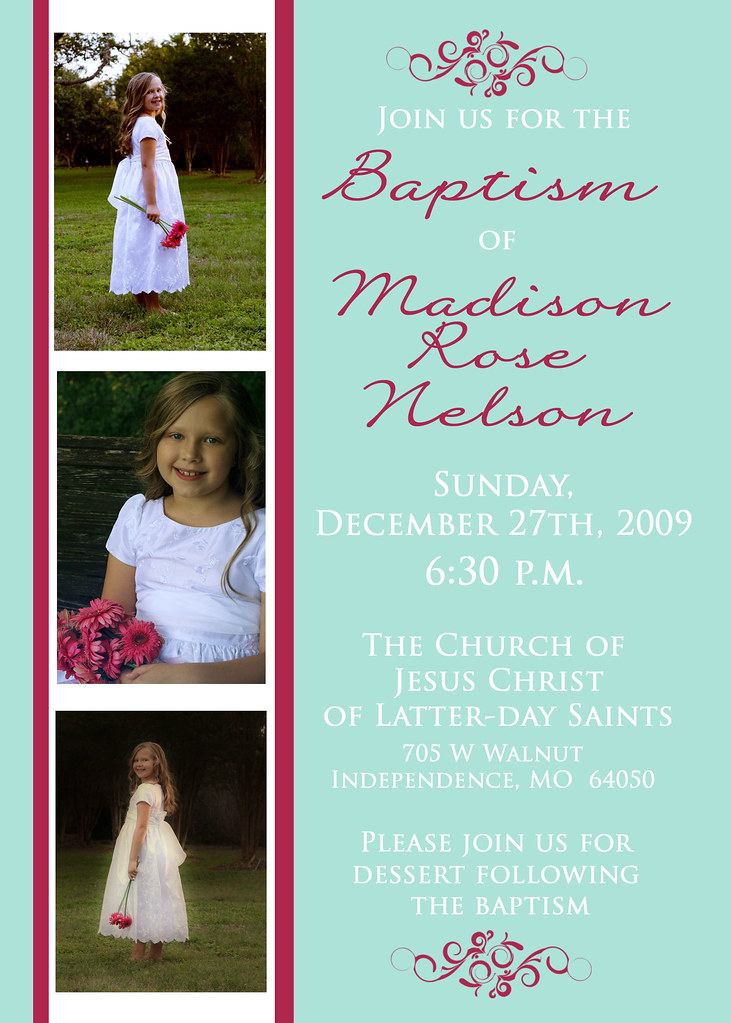 Lds Baptism Invitation Madison2 Www Nattysuedesigns1 Ets Flickr