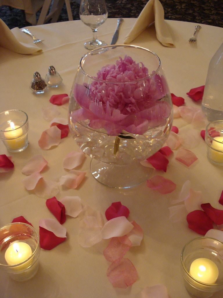 Floating pink peony wedding reception centerpiece a