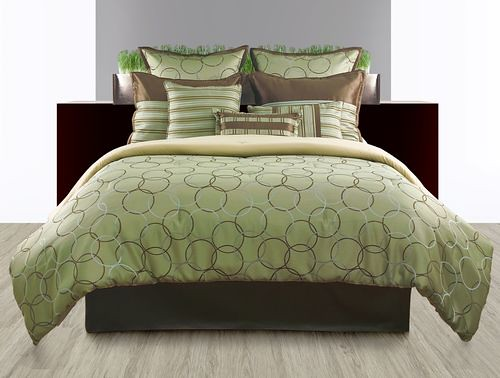 pc br comforter blue set brenna lin green king product linens