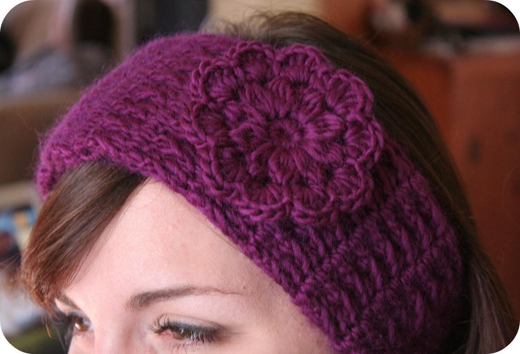 Headband Earwarmer with Pretty Flower Crochet Pattern | Flickr