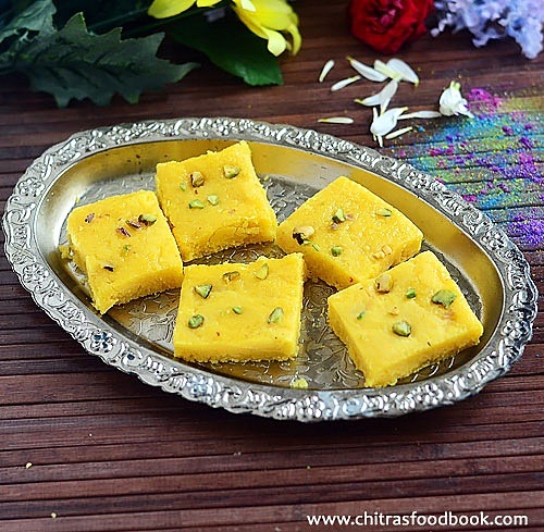 Nariyal ki barfi with khoya