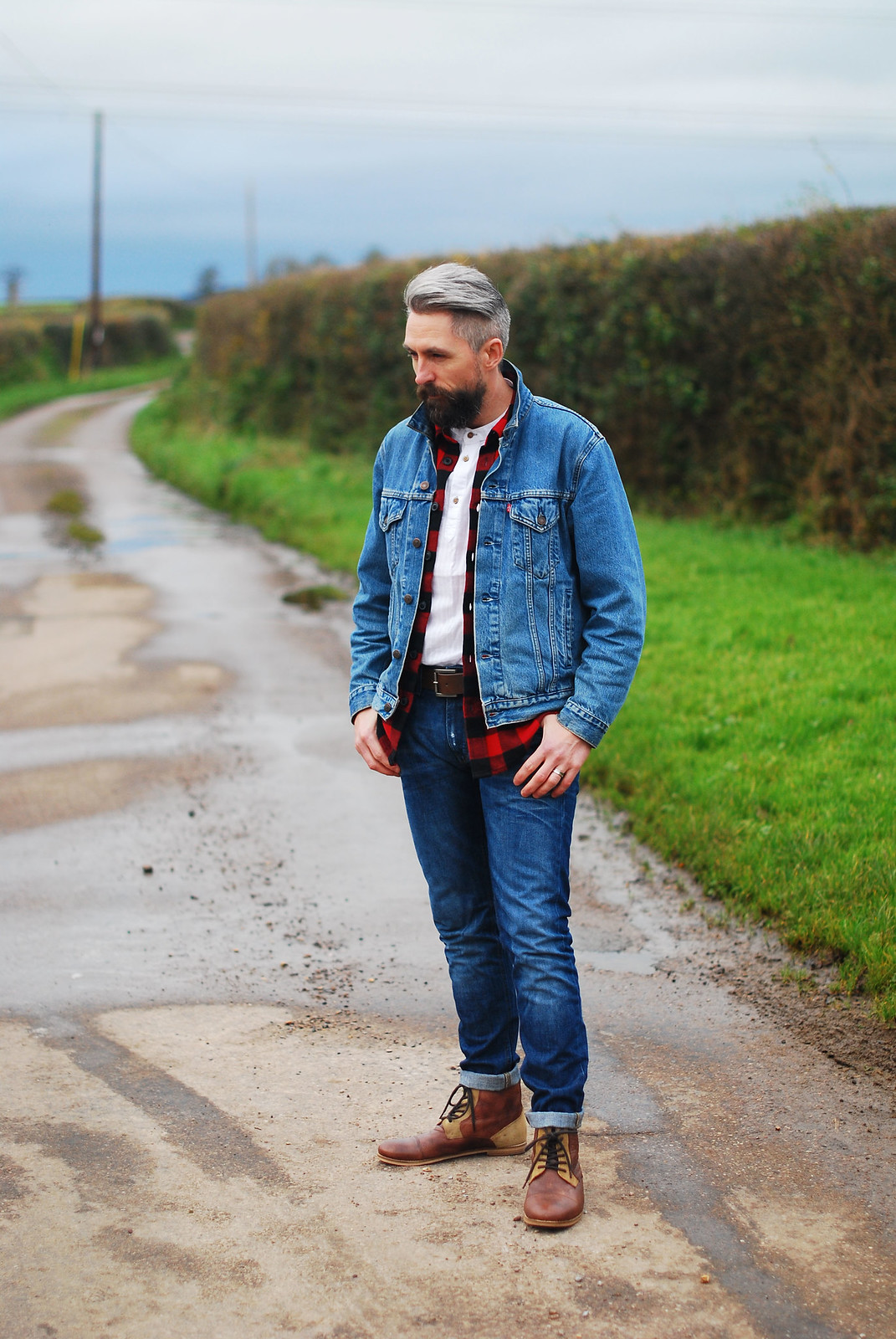 Casual weekend outfit \ denim jean jacket \ check (buffalo plaid) shirt \ skinny jeans \ brown lace up boots | Silver Londoner, over 40 menswear