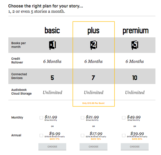 eStories Audiobook Service Plans and Pricing