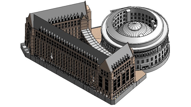a digital model of Manchester Central Library