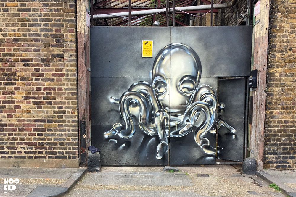 Fanakapan, Octopus Street Art Mural, London 2017. Photo © Mark Rigney / Hookedblog