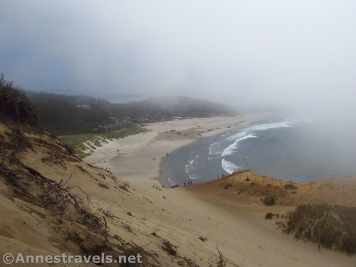 Looking down at the beach from part way up the dune at Cape Kiwanda, Oregon