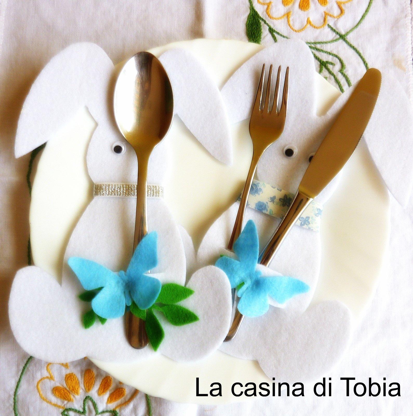 coniglietti paquali decorazione tavola portaposate