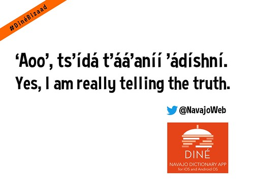 'Aoo', ts'ídá t'áá'aníí 'ádíshní = Yes, I am really telling the truth. #DinéBizaad @NavajoWeb