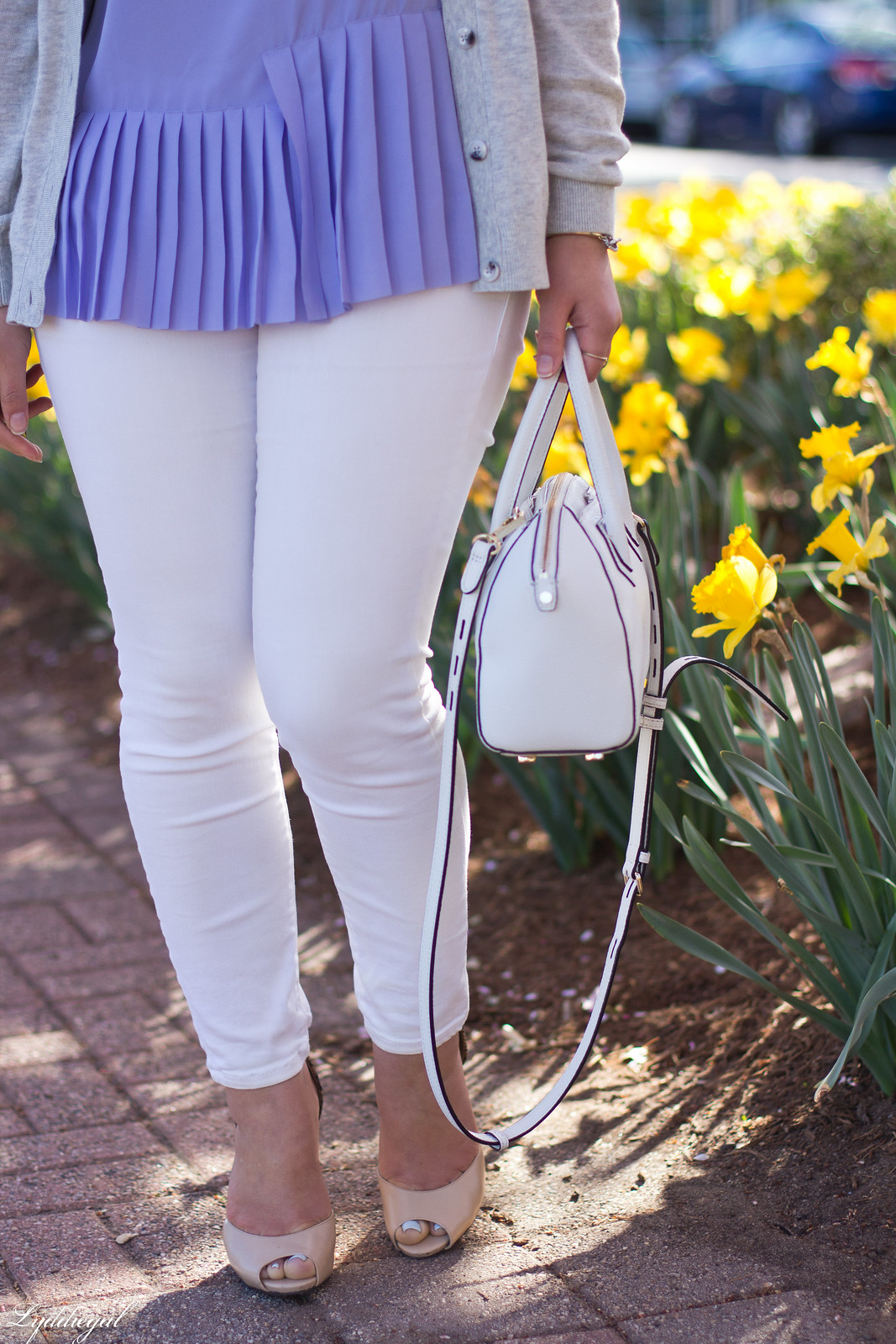 purple pleated top, white jeans, grey cardigan, spring outfit-12.jpg