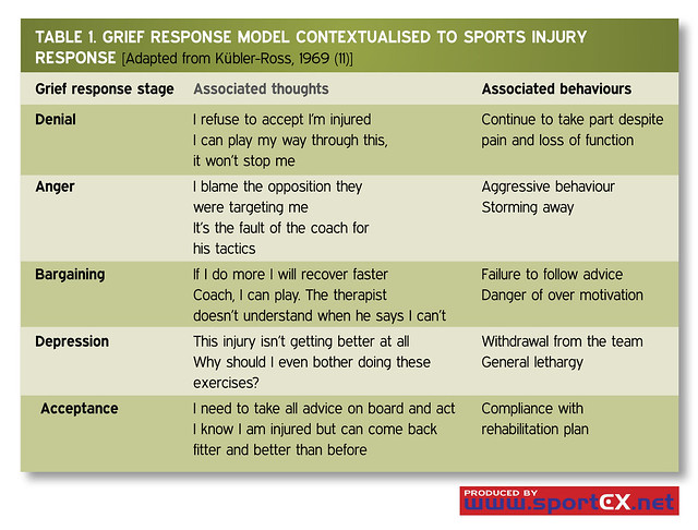 Grief Response Model contextualised to sports injury ...