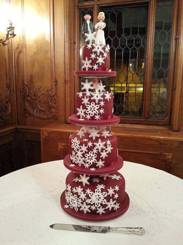 Burgundy Wedding Cake With White Snowflakes Mr Mrs Toppers