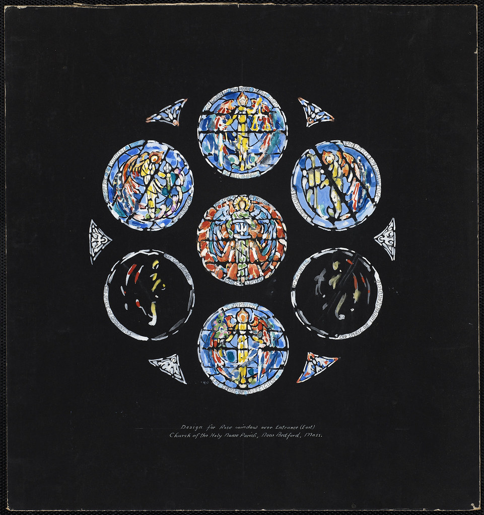 Design for rose window over entrance east church of the for Rose window design