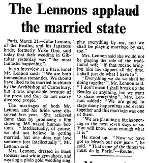 20th March 1969 - John Lennon marries Yoko Ono | by Bradford Timeline