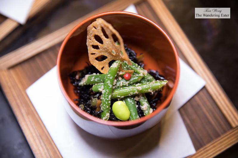Hijiki seaweed salad, edamame, string beans, lotus root chip