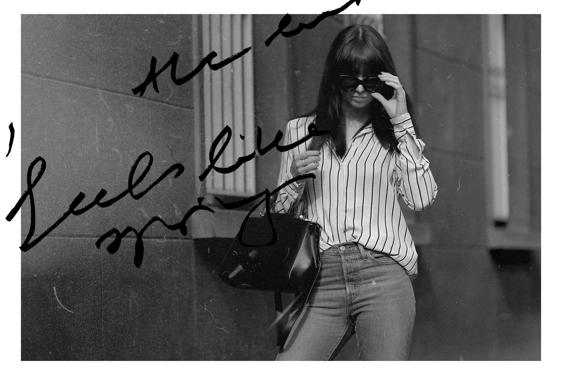 stripe blouse gucci nymphaea bag bamboo ysl saint laurent sandals slipper levi's jeans céline audrey sunglasses spring outfit minimal parisienne chic brunette bangs madame ricarda schernus cats&dogs blog modeblogger ootd outfitblogger düsseldorf 3
